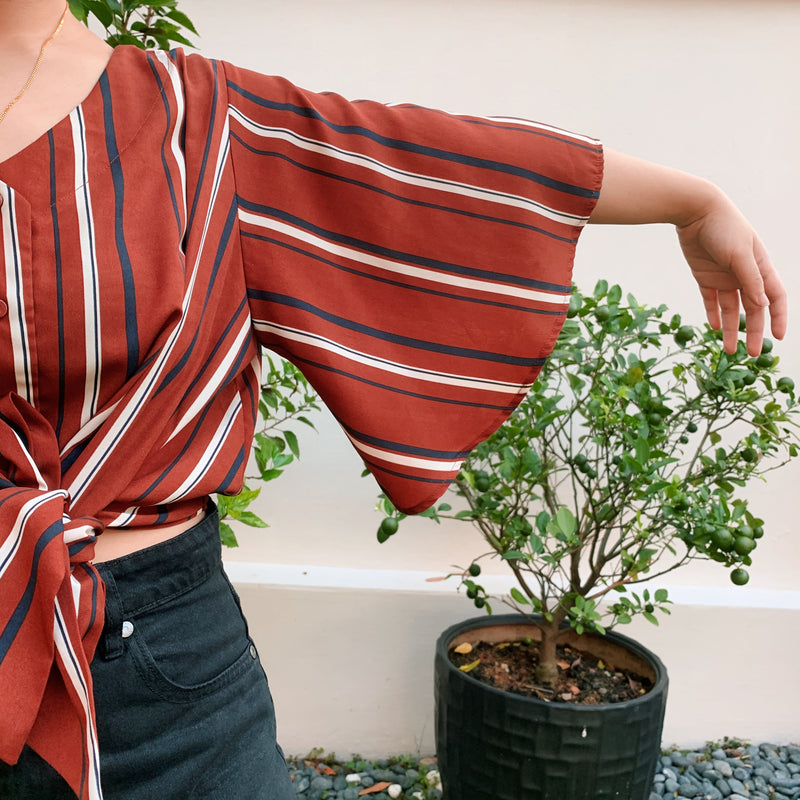 Valleygirl Striped Front Tie with Bell Sleeves
