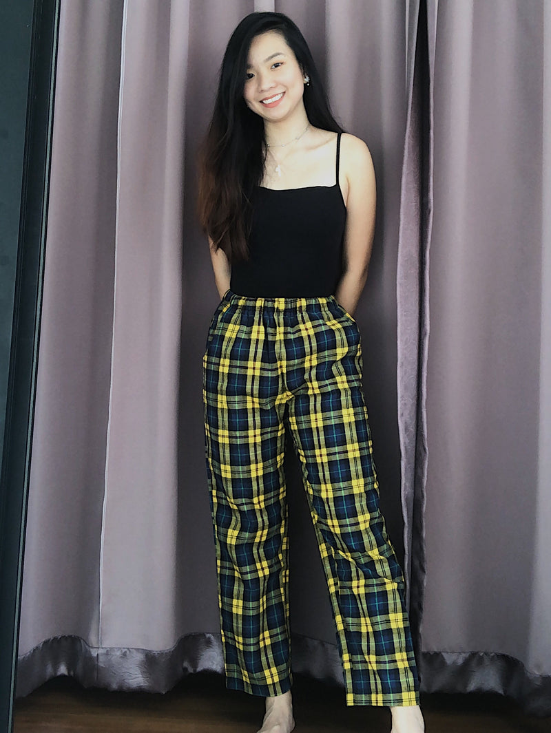 Slayday Yellow and Green Plaid Pants