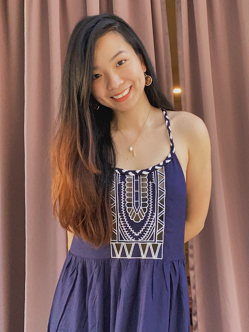 Pull n Bear Navy Braided Maxi Dress