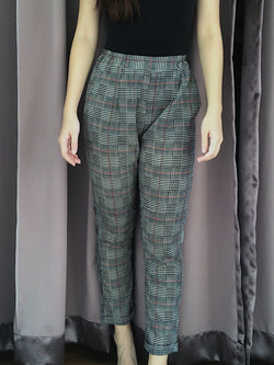 Bershka Red and Black Plaid Pants