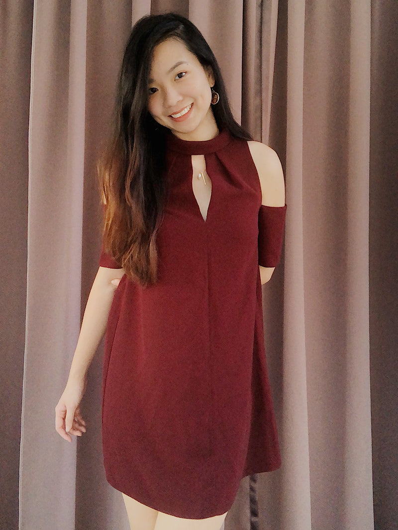 Topshop Burgundy Off-Shoulder Dress
