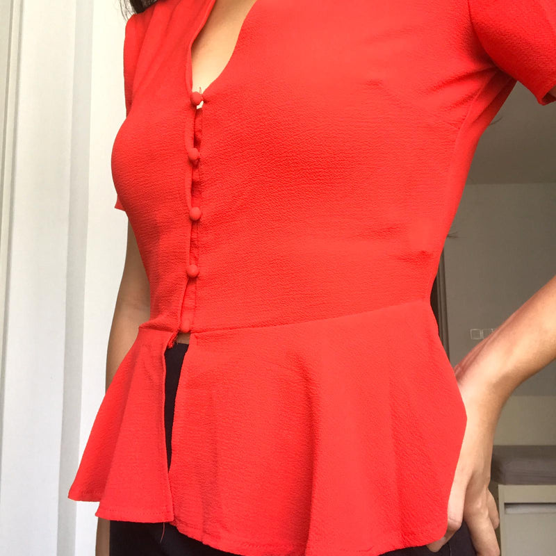 Missguided red peplum top