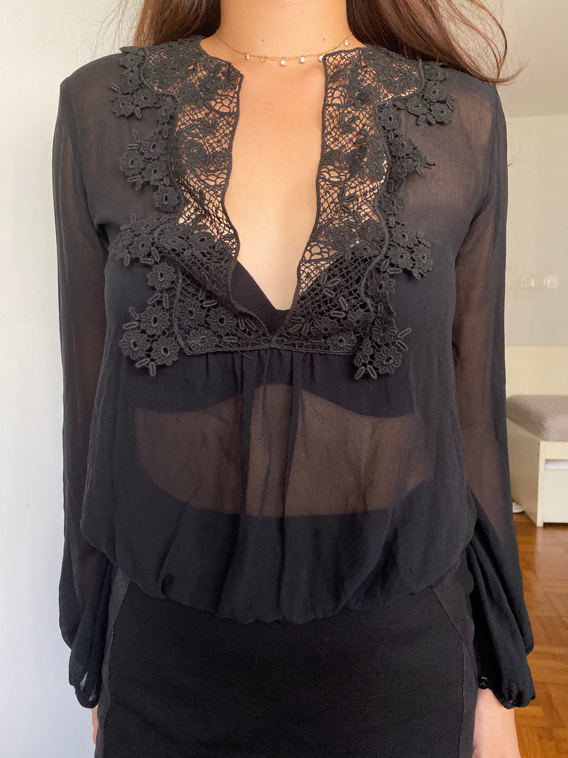 Zara Sheer Black top