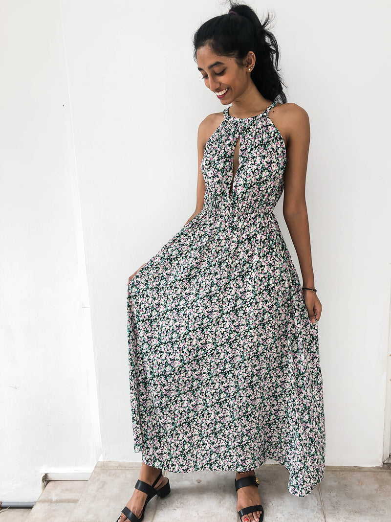Ducks in a Row Floral Halter Maxi Dress