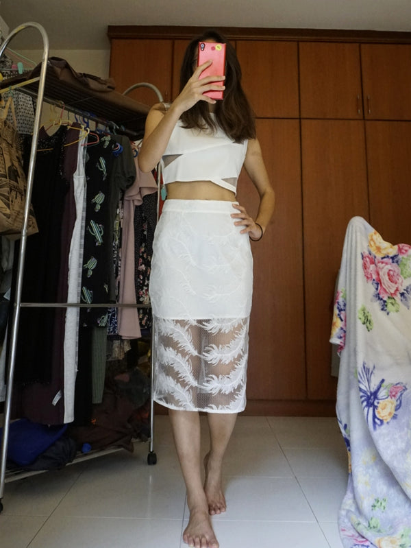 White Layered Lace Skirt