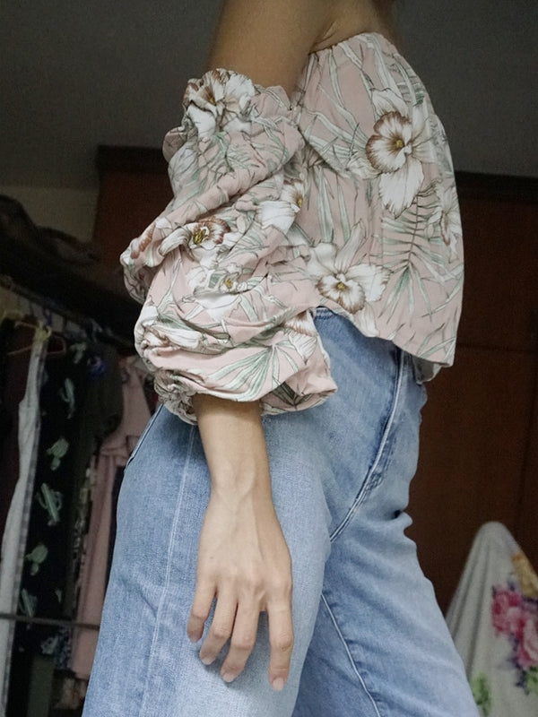 Love, Bonito Pink/Floral Printed Layered Sleeve Bustier Off-Shoulder Top