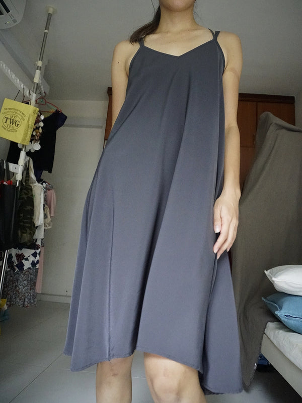 Promod Grey Silk Flowy Strappy Midi Dress with Uneven Hem