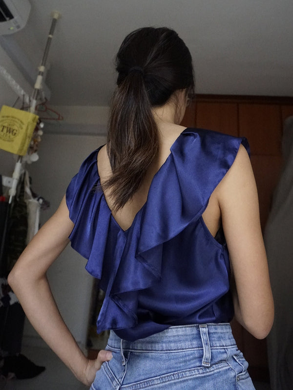 Dorothy Perkins Navy Blue Satin Top with Ruffles