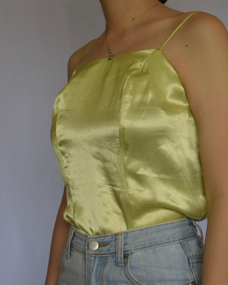 Green Satin top