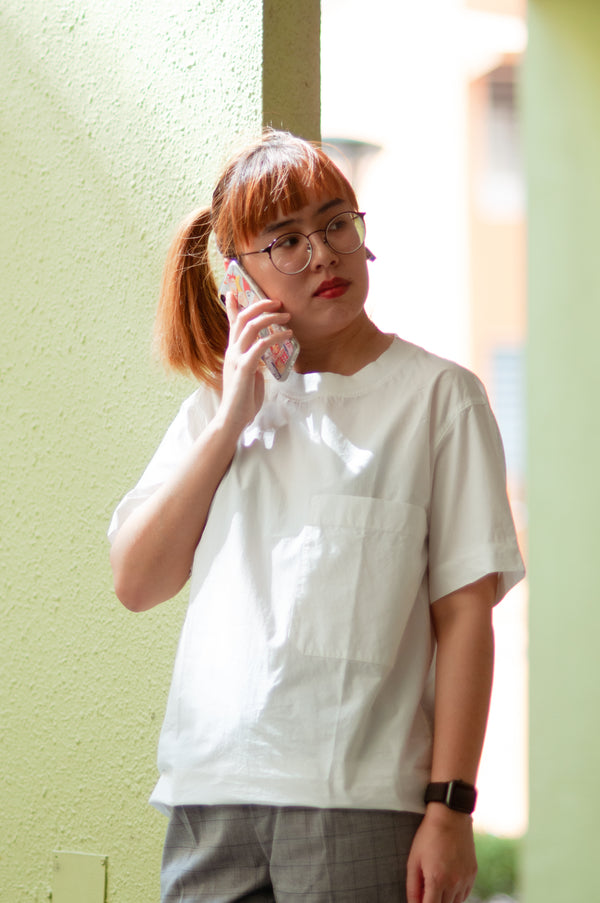 White Canvas Giant Pocket Tee
