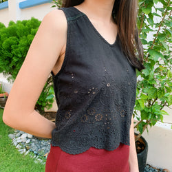 The Editor's Market black eyelet crop top