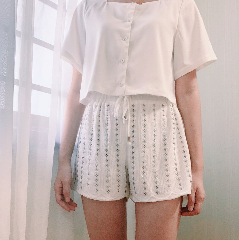 White embroidery shorts