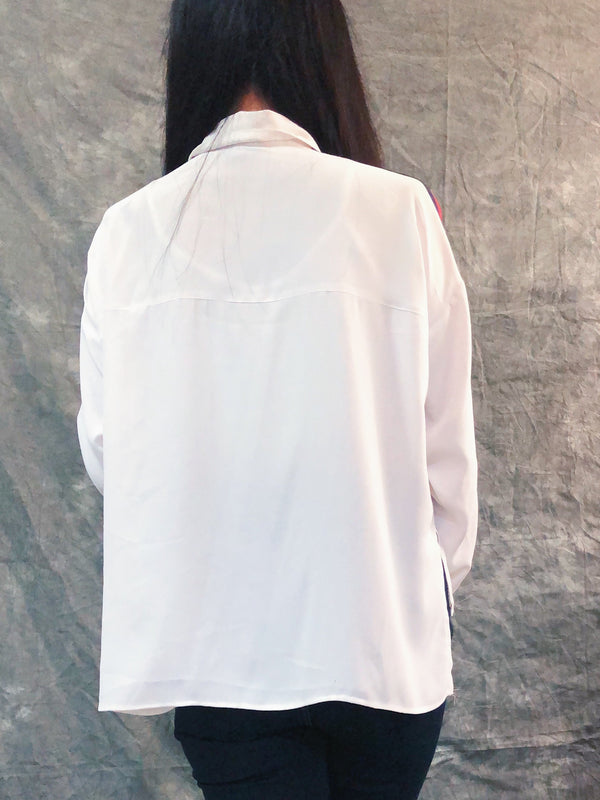 Topshop's White loose fitting button-up shirt