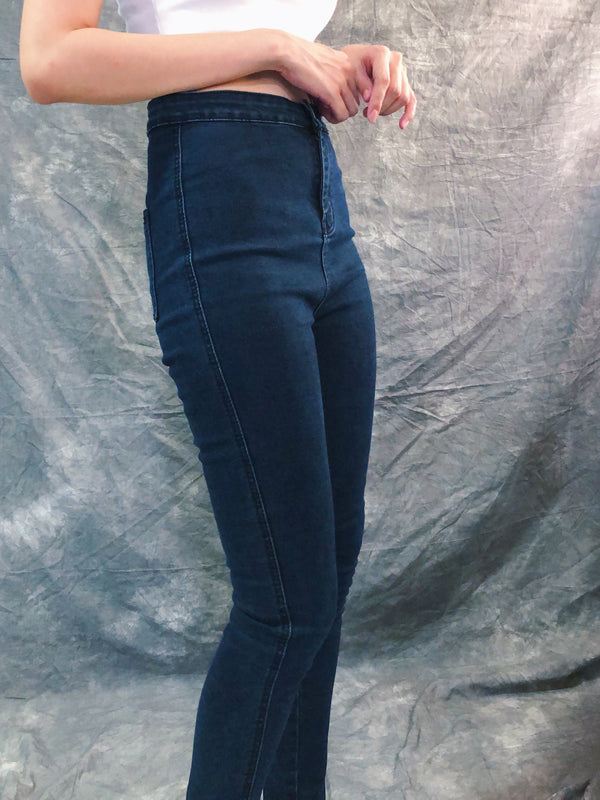 High waisted dark grey washed skinny jeans
