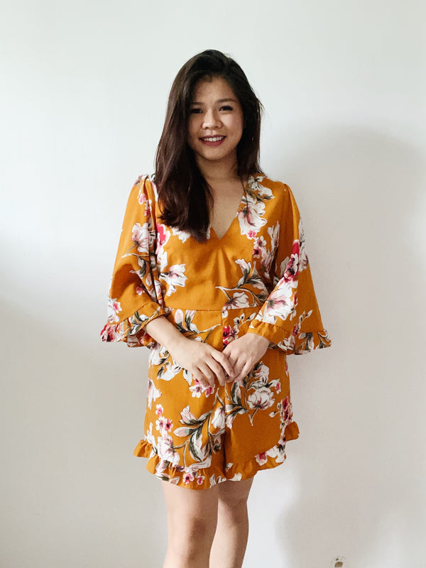 Nastygal Yellow Floral Romper