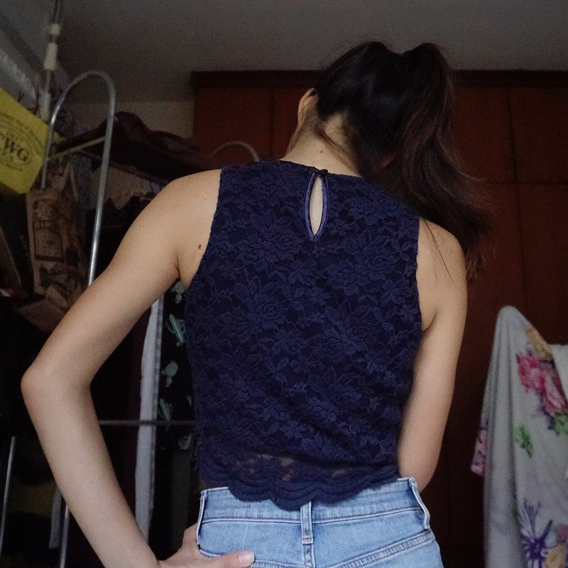 Layered Lace/Satin Navy Blue Crop Top