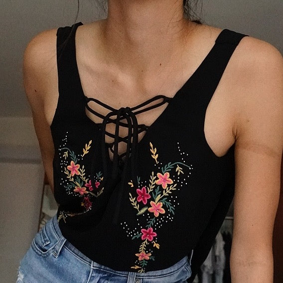 Stradivarius Lace Up Embroidered Top in Black