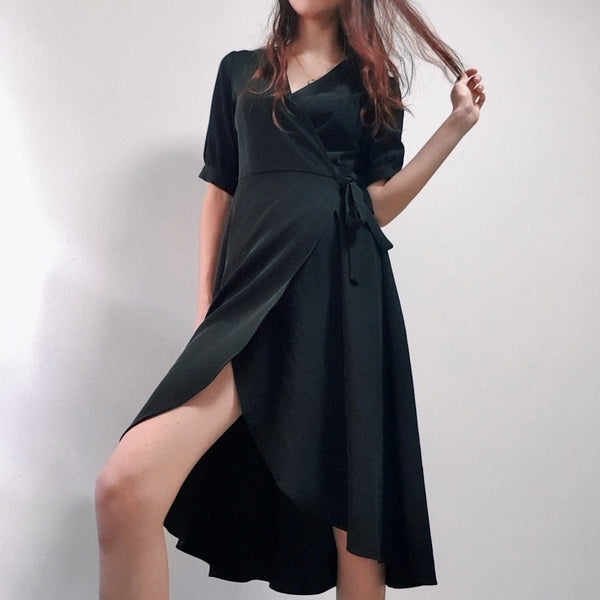 A for Arcade's Black Wrap Dress