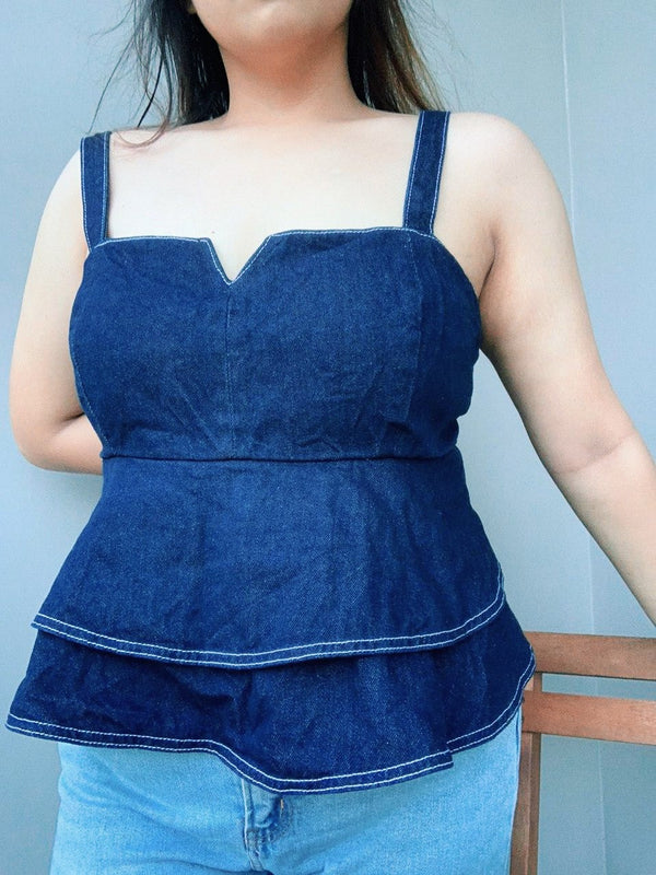 Asos Dark Denim Peplum Sleeveless Top