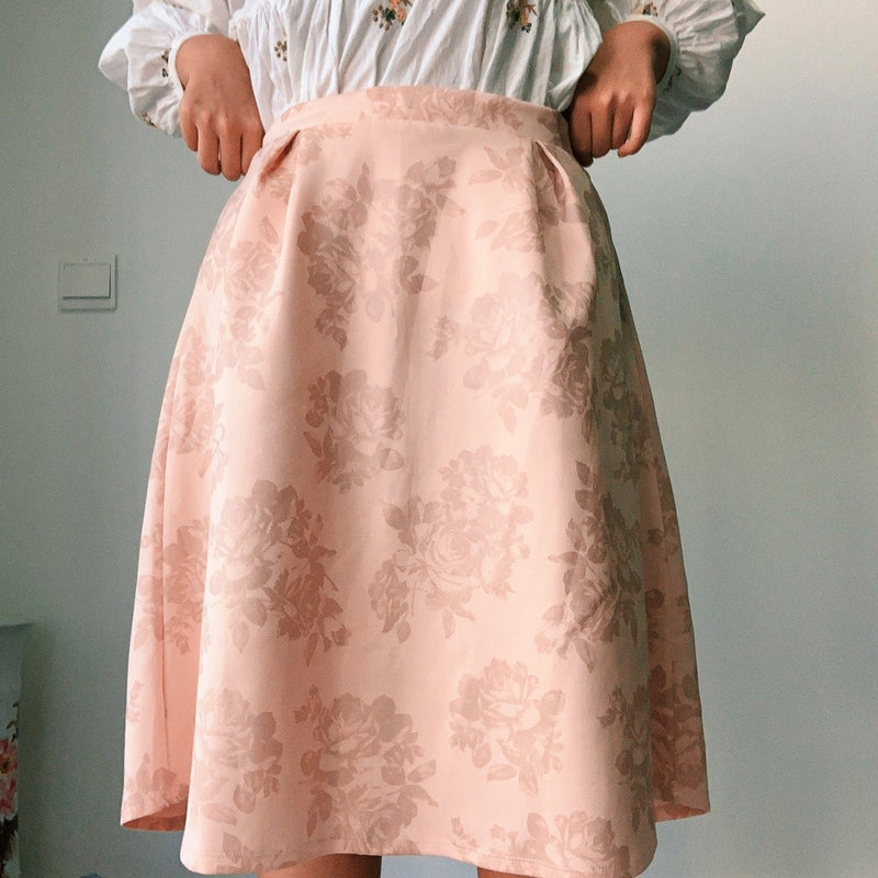 Dorothy Perkin Champagne Pink Midi Skirt with Rose Details