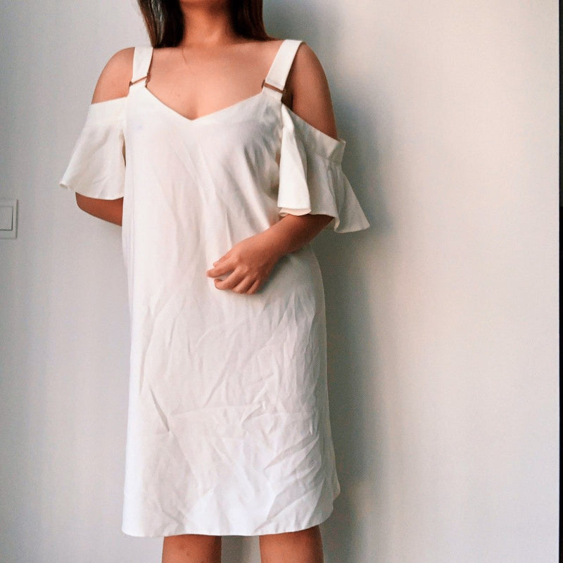 Dorothy Perkin White Cold Shoulder Shift Dress