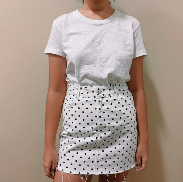 Topshop Polka Dotted Denim Skirt