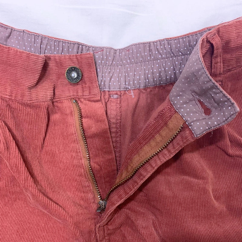 Red Corduroy High-Waisted Shorts