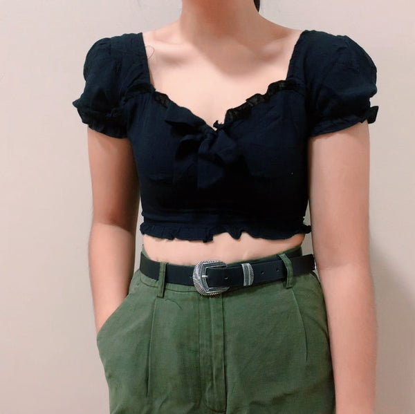 Princess Polly Black Cropped Top