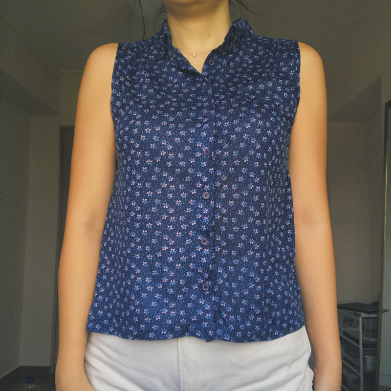 Floral collared sleeveless top