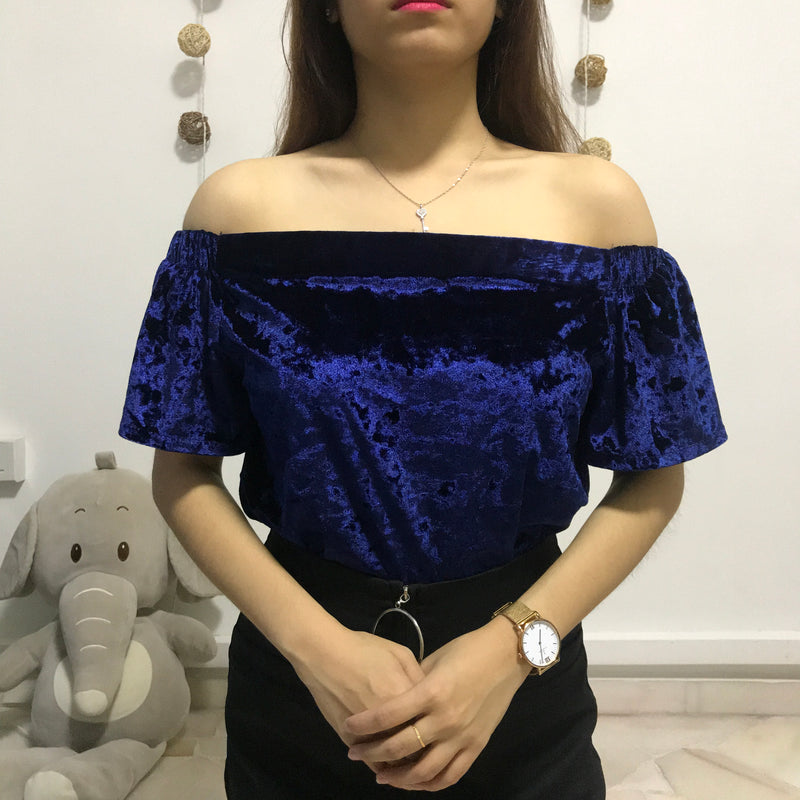 The Editor's Market Navy Blue Velvet Off Shoulder Top