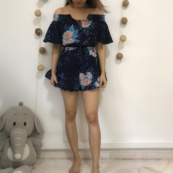 Morning Mist Blue Floral Off Shoulder Romper
