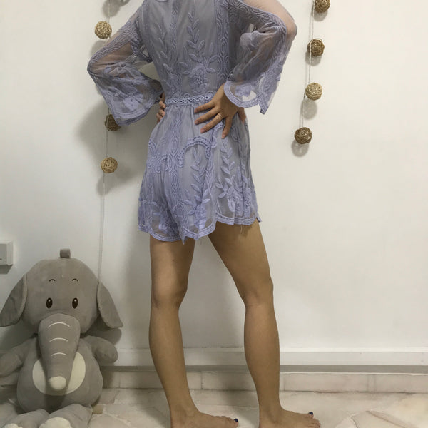 Andwelldressed Lilac Lace Romper