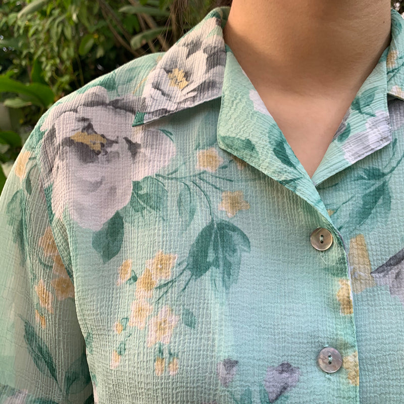vintage mint floral button up with lining