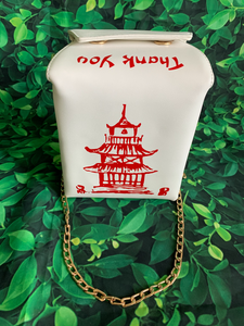 takeout style purse with chain