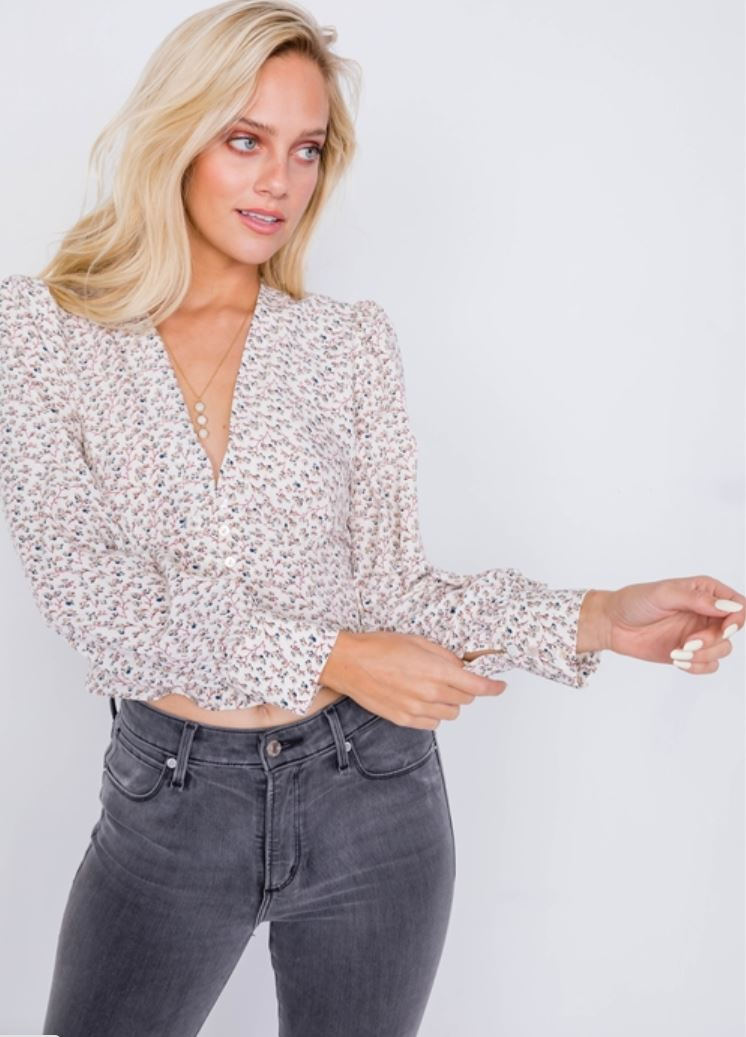 Cream Puff Floral Top