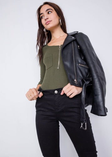 Olive Ribbed Bodysuit