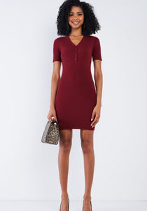 Ribbed Burgundy Dress
