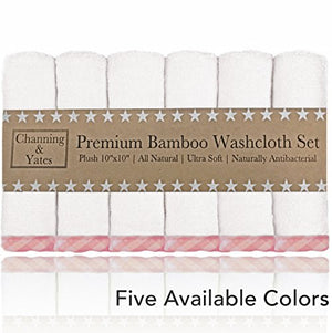 "Premium Bamboo Baby Washcloths - (6 Pack) Organic Ultra Soft Face Towels - 10"" x 10"""