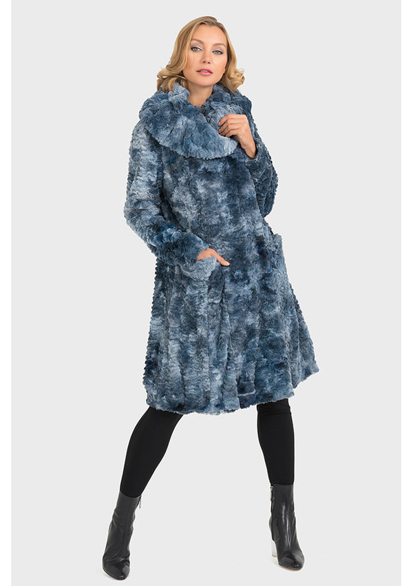 Denim Blue Fluffy Coat DM027391