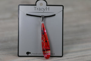 TracyH Pendant Teardrop  Abstract Red