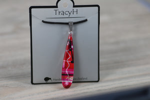 TracyH Pendant Teardrop  Abstract Pink