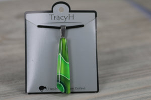 TracyH Pendant Drop Clear Ribbon Green