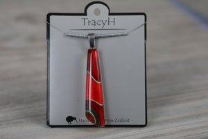 TracyH Pendant Drop Clear Ribbon Red