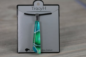 TracyH Pendant Drop Clear Pebbles Turq