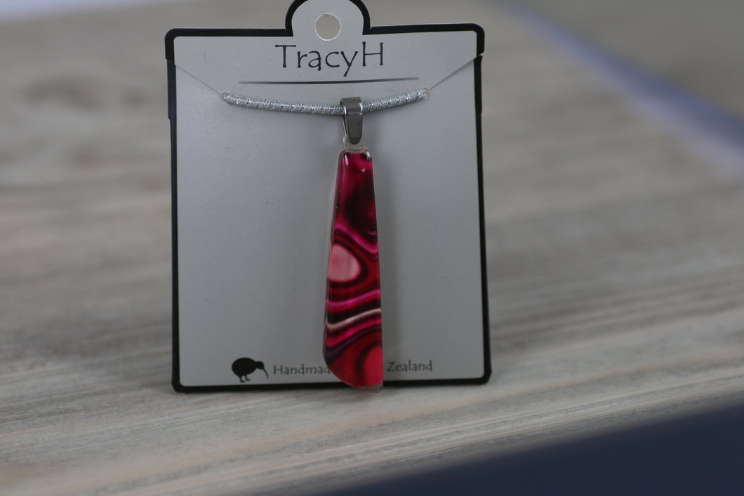 TracyH Pendant Clear Drop Reflection Pink