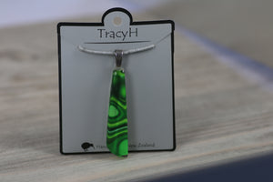 TracyH Pendant Drop  Clear Reflection Green