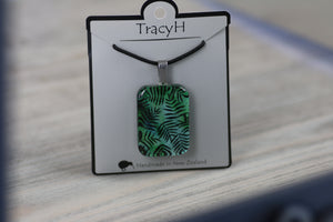 TracyH Pendant Rectangle Fern Turq