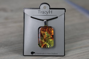 TracyH Pendant Rectangle Fern Orange