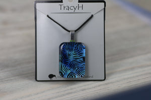 TracyH Pendant Rectangle Fern Blue