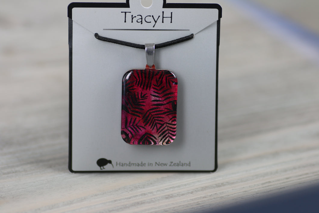 TracyH Pendant Rectangle Fern Pink